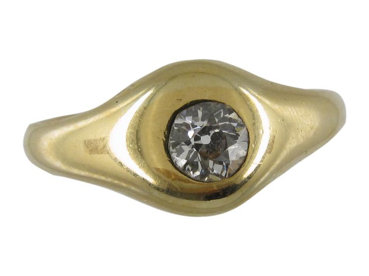 Edwardian Single Stone Diamond, Gold Set Ring