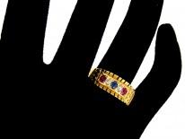 Edwardian Ruby, Diamond & Sapphire Set in Gold Band