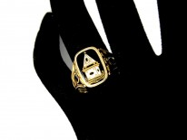 Enamel Mourning Flip Over Ring with Urn