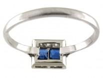 Burma Sapphires & Diamonds Square Deco Platinum Ring