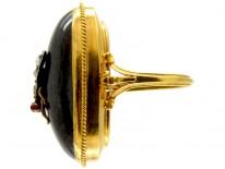 Large Cabochon Garnet & Diamond Victorian Ring