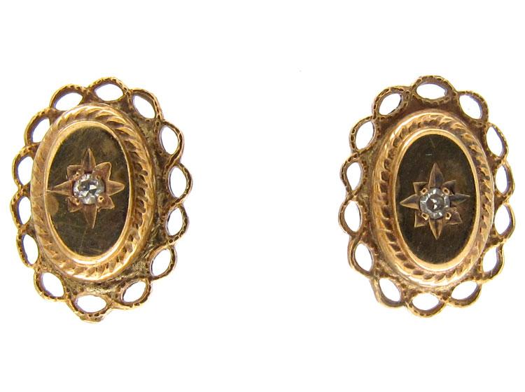 Victorian 15ct Gold Diamond Earrings