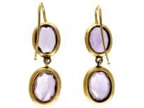 Amethyst 18ct Gold Drop Earrings