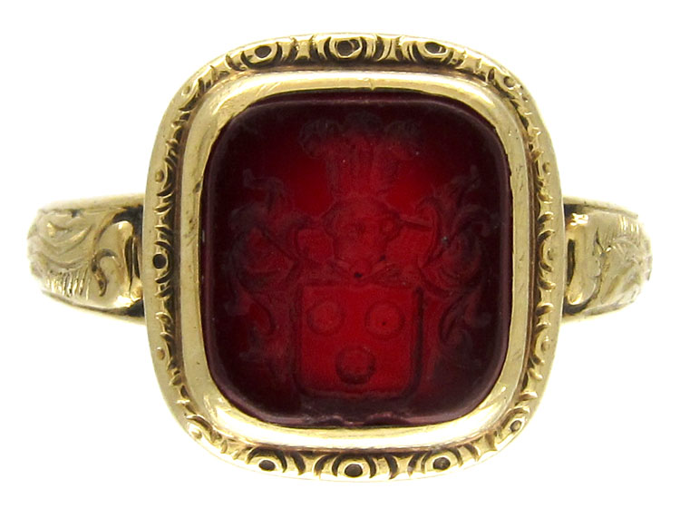Early Victorian Engraved Carnelian Signet Ring
