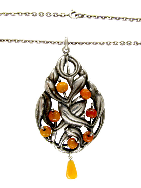 Silver Amber Pendant on Chain