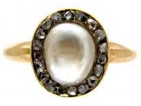 Natural Pearl & Diamond Gold Ring