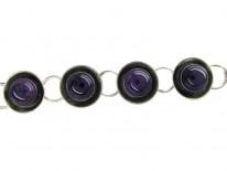 Cabochon Amethyst & Silver Retro Bracelet