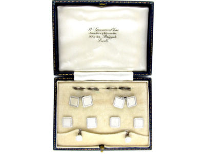 9ct White Gold & Mother of Pearl Cufflinks, Buttons & Studs Set