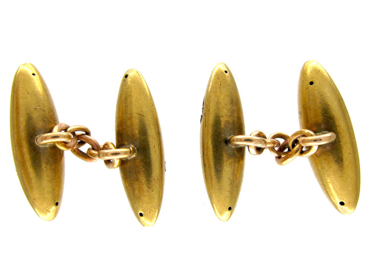 Victorian 15ct Gold & Rose Diamond Bullit Shape Cufflinks