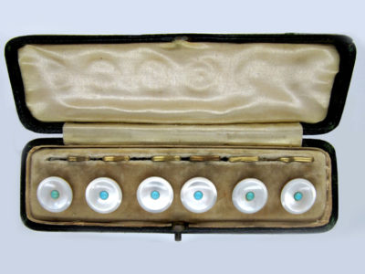 Turquoise & Mother of Pearl 9ct Gold Buttons