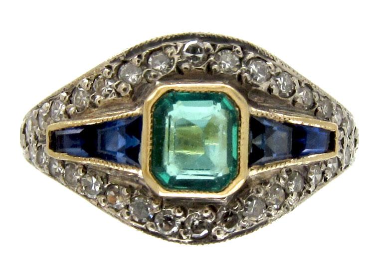 Art Deco Emerald, Sapphire & Diamond Ring
