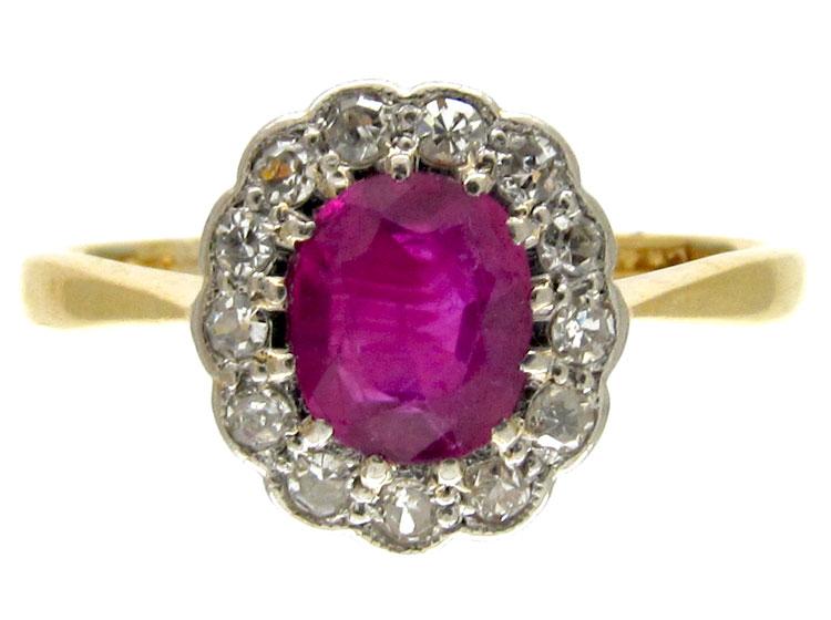 Ruby & Diamond Edwardian Cluster Ring