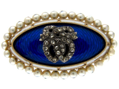 Royal Blue Enamel Double Heart Diamond Brooch