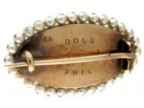 Edwardian 15ct Gold, Royal Blue Enamel, Rose Diamond & Natural Pearls Double Heart Brooch