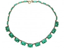 Art Deco Green Glass Necklace