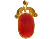 Carved Coral Classical Head Pendant