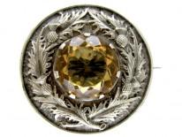 Large Silver & Citrine Scottish Victorian Brooch