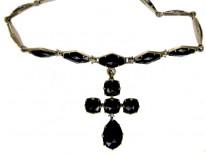 Georgian Vauxhall Glass Cross Necklace