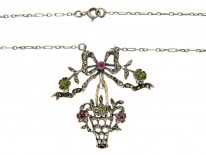 French Belle Epoque Paste & Marcasite Silver Basket & Bow Pendant on Silver Chain