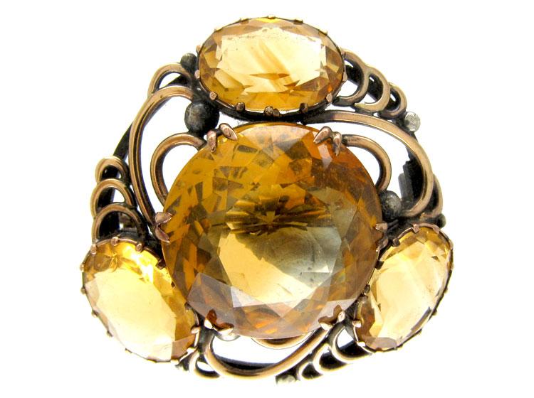 Silver, Gold & Citrine Brooch by Bernard Instone