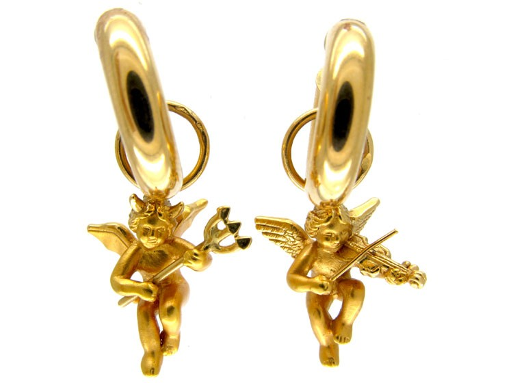 Good & Evil 18ct Gold Cherub Earrings