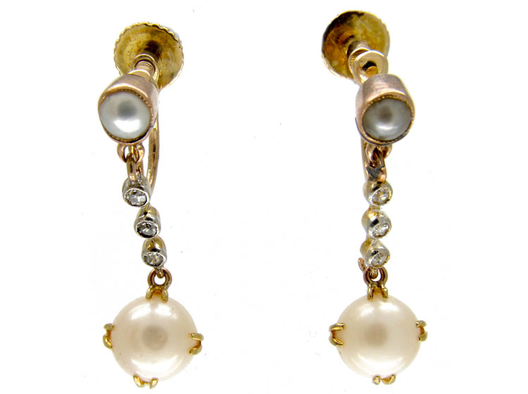 Edwardian Natural Pearl Drop Earrings