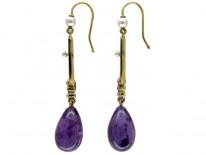 Amethyst & Natural Pearl 15ct Gold Drop Earrings