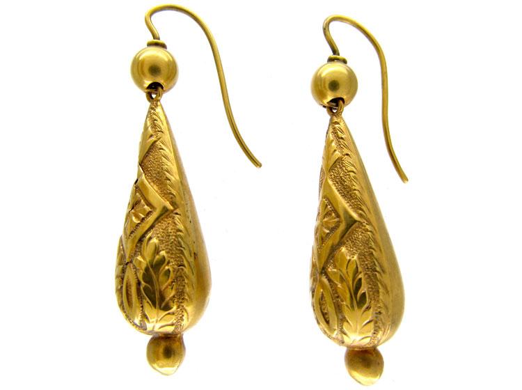 Gold Victorian Embossed Earrings