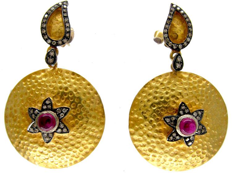 Cabochon Ruby & Diamond Drop Gold Earrings