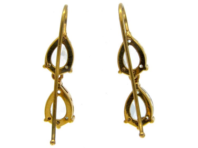 Aquamarine 18ct Gold Double Drop Earrings