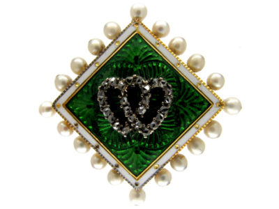 Diamond & Pearl Double Heart Edwardian Brooch