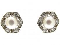 Pearl & Diamond Hexagonal Earrings