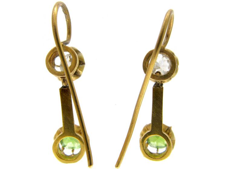 Green Garnet & Diamond Drop Earrings