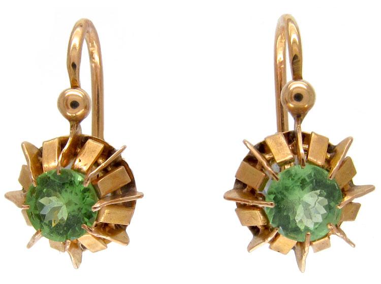 Green Garnet Gold Earrings