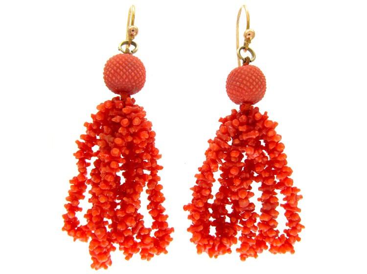 Georgian Carved Coral Earrings