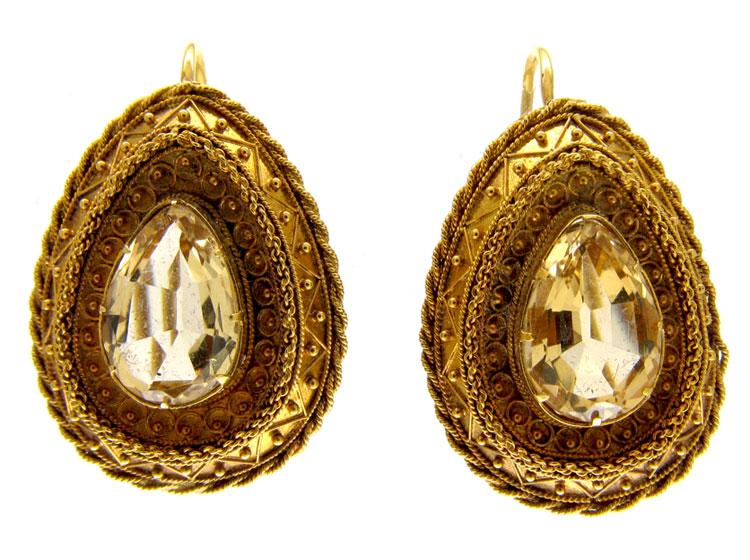 Citrine & Gold Etruscan Earrings