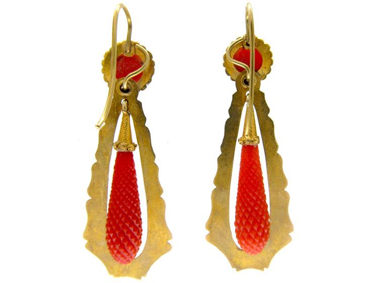 Coral Regency Drop Earrings