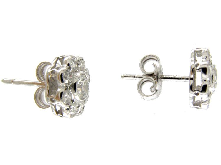 Edwardian Style Diamond Cluster Earrings
