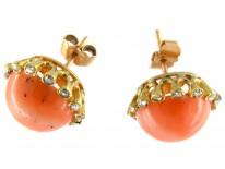 Coral & Diamond Bouton Earrings