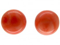Coral Button Earrings
