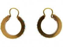 Turquoise & Pearl Gold Hoop Earrings