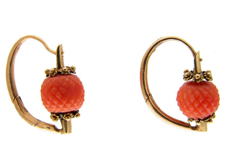 Georgian Coral Gold Earrings