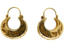 Engraved Boat Shaped Gold Victorian Earrings