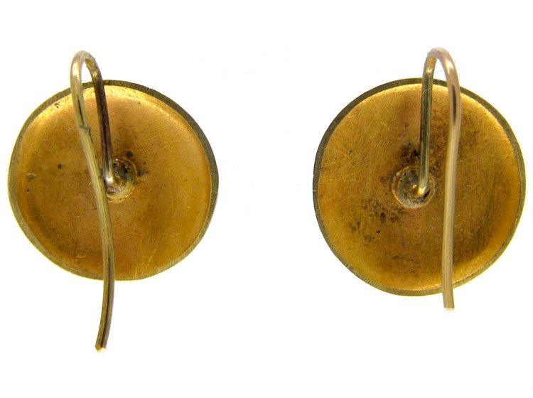 Victorian Gold Round Hook Earrings