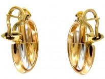 Two Colour Gold Hoop Earrings