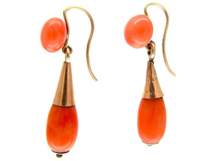 Neapolitan Coral Drop Earrings