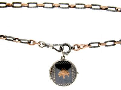 Silver Niello Locket on Chain