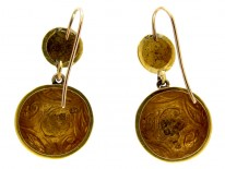 Engraved Victorian Gold Drop Earrings