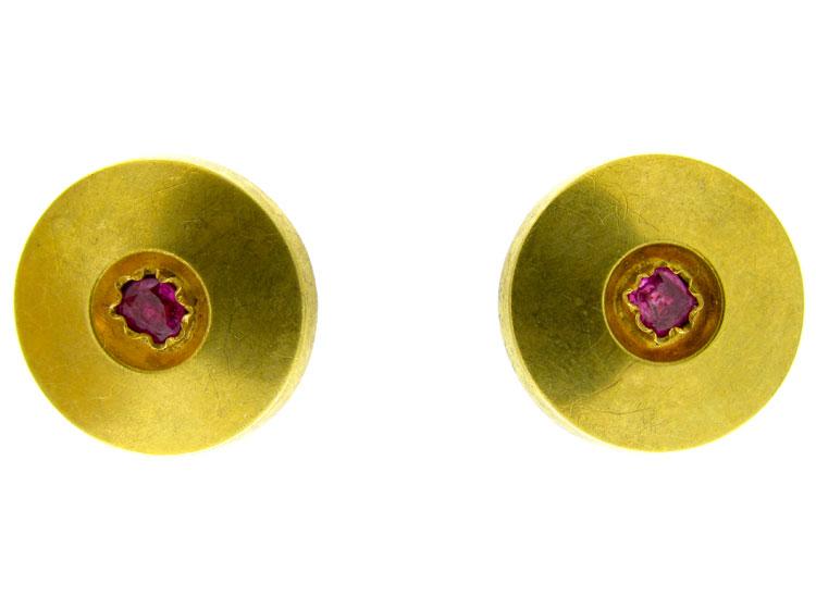 Gold & Ruby Disk Earrings