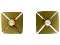 Victorian Square Gold & Pearl Earrings